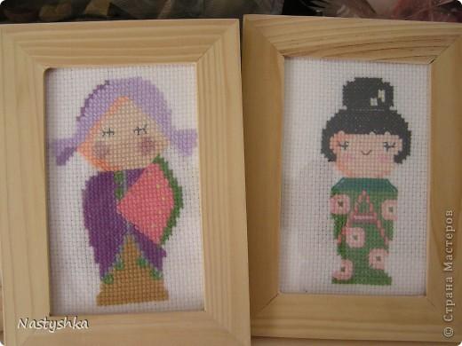 """Вот такие вот японки. Схема взята из журнала """"Я вышиваю крестиком"""". Вышивку сделала где-то в 2007 году."""