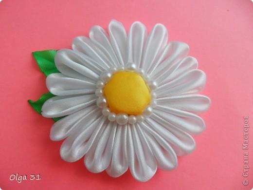 """мои очередные цветочки. Резинка для волос Роза """"БОРДО"""" и заколка РОМАШКА. фото 3"""