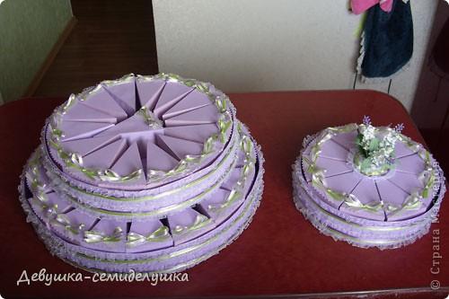 Не так давно на сельских свадьбах пекли шишки — сдобные булочки, которые раздавались каждому гостю на память. Люди верили, что молодые делятся с ними своим счастьем и теплом любви. Но все меняется, и вот к нам пришла красивая западная традиция делать бонбоньерки для гостей. В классическом понимании бонбоньерка — маленькая изящная коробочка для конфет, затейливо украшенная. Мы решили вместо конфет положить лавандовые саше http://stranamasterov.ru/node/375057. Коробочки сложены в виде кусочков торта. Эту идею я взяла у Татьяны Грошевой http://stranamasterov.ru/node/160727?c=favorite фото 33