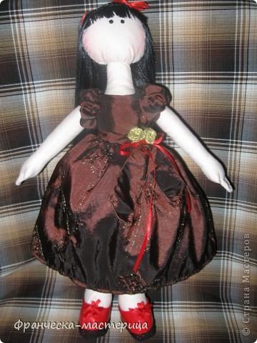 Куколка сшилась после клича, брошенного Ольгой Запоновой по СП кукол - большеножек. Рост куколки - 32 см. Ткань - лён , кружева, атласные ленты. фото 1