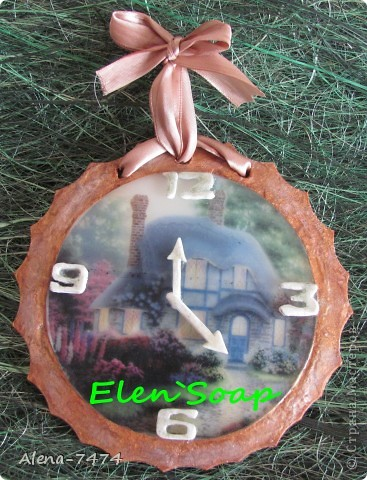 Мыло-часы с водорастворимой бумагой, аромат клубника со сливками. фото 1