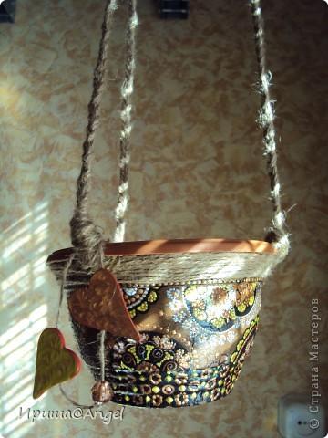 Подвесное кашпо в беседку на дачу. фото 3