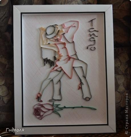 """Здравствуйте, Мастерицы! Выношу на Ваш суд свою картину. Назвала """"Танго"""". Захотелось для танцевального руководителя моего сына сделать, что-нибудь связанное с танцами. Так родилась идея, ну и в последствии сама картина. фото 1"""