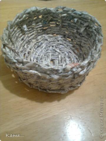 Конфетница из газетных трубочек (не окрашена) фото 1