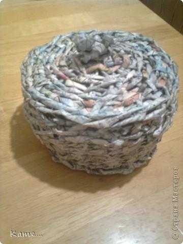 Конфетница из газетных трубочек (не окрашена) фото 2