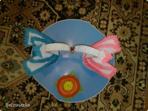 Все в технике модульного оригами, озеро пластиковое и жемчуг в цветке и в клювиках фото 4