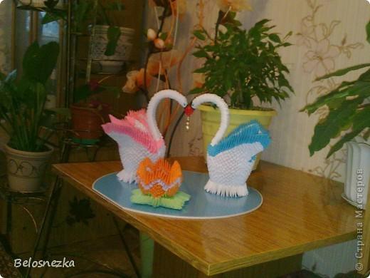 Все в технике модульного оригами, озеро пластиковое и жемчуг в цветке и в клювиках фото 2