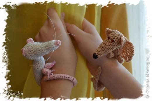 Вот такие смешные браслетики я связала по описанию в Интернете: http://uroki-vjazanija.blogspot.com/2011/10/taksa-braslet.html По-моему, крыска и такса подружились! фото 1