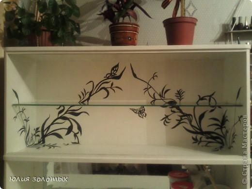 вот так преобразился старый трехстворчатый деревянный шкаф. Нарисовала, вырезала из самоклейки (осталась с того времени как кухню старую обклеивала) рисунок, приклеила на шкаф, покрасила белой акриловой краской, подцепляя зубочисткой сняла самоклейку, и вот что получилось. фото 3