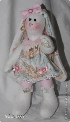 Эта Зайка - подарок для маленькой девочки. Игрушка мягкая и уютная, чтобы хотелось прижать к детской нежной щечке.  Зайка пошилась благодаря прекрасным мастерицам Страны -   Оксаны- ksenia51- http://stranamasterov.ru/user/82444  и  Елены http://stranamasterov.ru/user/78436.    Девочки, спасибо Вам огромное!!!! фото 3
