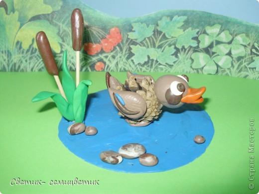 Поделка утка из шишки
