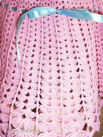 Платье вязала из Семеновской пряжи Кабле 430м/100г.Крючок №2.Ушло 1,5 моточка. фото 3