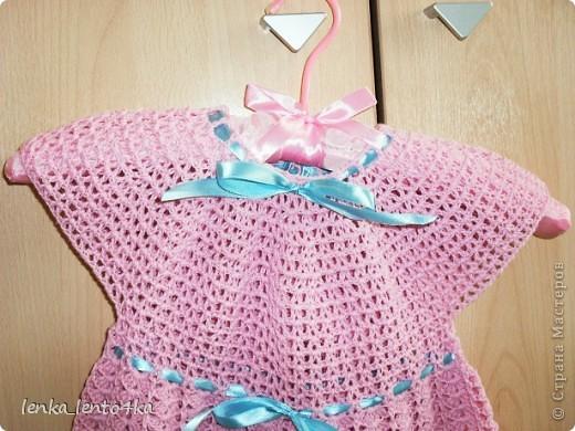 Платье вязала из Семеновской пряжи Кабле 430м/100г.Крючок №2.Ушло 1,5 моточка. фото 2