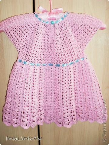 Платье вязала из Семеновской пряжи Кабле 430м/100г.Крючок №2.Ушло 1,5 моточка. фото 5