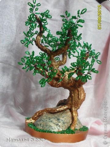 """вот такое корявенькое деревце получилось.для себя решила,что мне больше нравится делать фактурные стволы,чем пышную крону) """"Посадила"""" я это деревце на камень,из-за чего оно стало тяжеленьким. фото 1"""