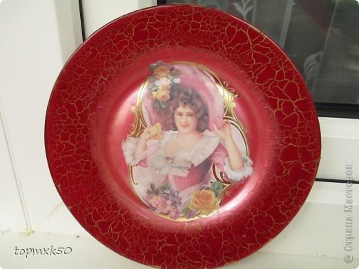 Обратный декупаж тарелок фото 1