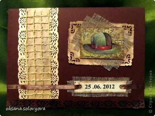 Здравствуйте милые Мастерицы, я опять к вам с открыточкой и конвертом для денежки. Правду говорят... как корабль ты назовешь так он и поплывет...вот и я сделала первый шаг в скрапе с мужской открытки  и ...опять нужна мужская открытка, а так хочется цветочков, бабочек, кружавчиков.. фото 3