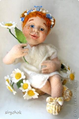 Валяная кукла  Ромашка