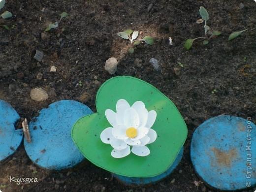 """Клумба""""Лебедь"""", в этом году добавили камыши и лотос из пластиковых ложек(прошлогодние и цветущие у меня в блоге) фото 21"""