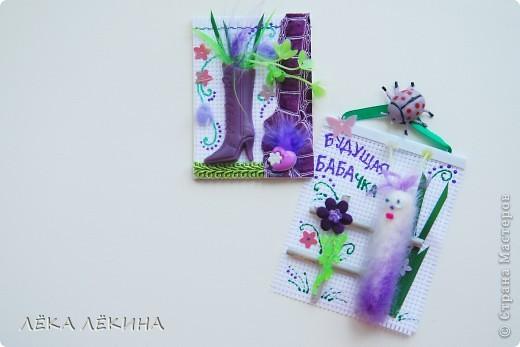 """Итак итоги нашей игры. Условием было сделать карточки с использование цветов - фиолетовый (сиреневый)-салатовый (зеленый)-белый. Можно в небольшом количестве использовать коричневый, черный, серый, ванильный. Моя серия из фетра и называется """"Птичьи домики"""". фото 9"""