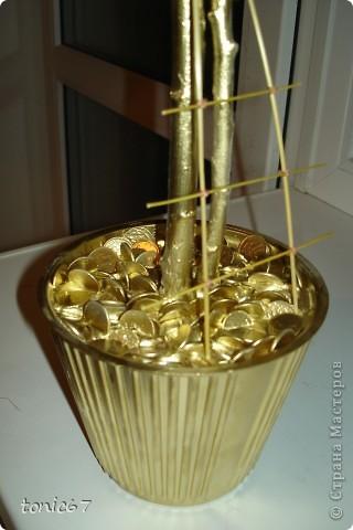 шар из газет. Сверху сизаль.Использовала шоколадки и монетки шоколадные, листики скелетированные и лагурус. фото 2