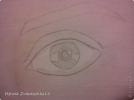 Ранее я уже рисовала глаз и выкладывала его сюда, но он выполнялся по уроку. Сейчас я просто срисовывала с картинки интернета. Использовала для этого такие карандаши как 4H, 3H, 2H, H, HB, B, 2B, 3B, 4B, 5B, 6B.  фото 5