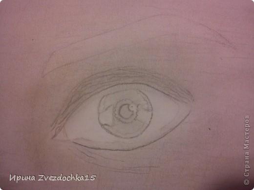 Ранее я уже рисовала глаз и выкладывала его сюда, но он выполнялся по уроку. Сейчас я просто срисовывала с картинки интернета. Использовала для этого такие карандаши как 4H, 3H, 2H, H, HB, B, 2B, 3B, 4B, 5B, 6B.  фото 7