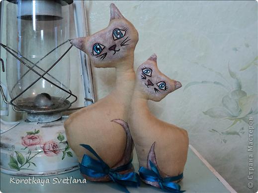 Очень понравилось шить игрушки. Это мама с котенком чайно-кофейные. Рисовала акриловыми красками. фото 1