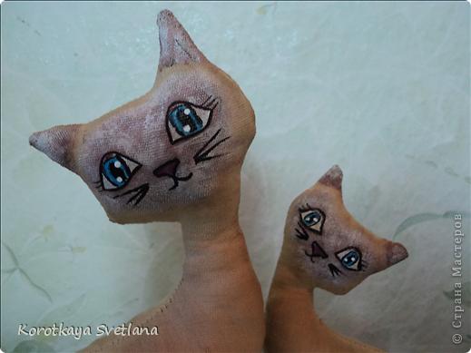 Очень понравилось шить игрушки. Это мама с котенком чайно-кофейные. Рисовала акриловыми красками. фото 2