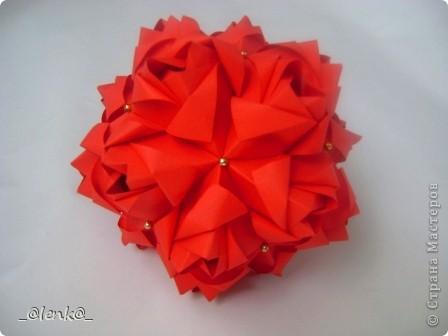 Здравствуйте! Представляю вам свои розочки автора Марии Синайской. Давно на них смотрела, и наконец дошли до них руки. Складываются просто замечательно, сборка-одно удовольствие. Я такие люблю)))  Эти куси можно найти на сайте http://goorigami.com/ фото 6
