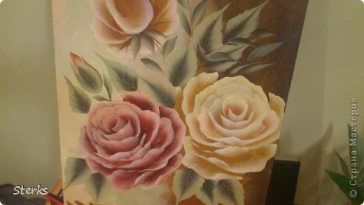 Ну и под конец Остапа понесло) Розы на холсте... фото 1