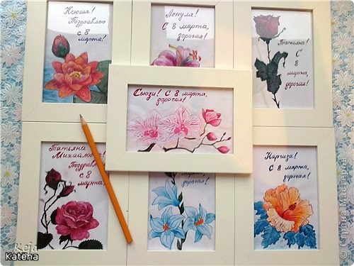 Ломала голову, что же подарить девчонкам на работе на 8 марта. Купила рамки (в икее по 79р.за 2 штуки) и нарисовала именные открытки. Бюджетно и персонально. Все остались довольны)) Буду рада, если кому-то пригодится моя идейка!