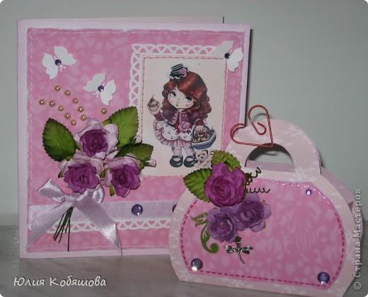 Вот у меня родилась сумочка в комплект к открыточке, которую я показывала вот здесь http://stranamasterov.ru/node/370596. Как уже говорила, и открыточку и сумочку сделала в подарок хорошенькой девочке, конкретно в сумочку положим заколочки, надеюсь понравятся. фото 4