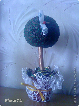 Кофейное деревце с конфетками в горшочке. фото 1