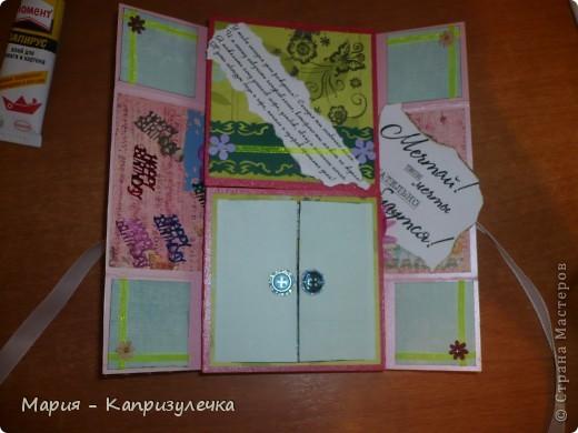 """Всем здравствуйте! Наконец-то я завершила открытку на день рождения своей подруги. Это так называемая """"Бесконечная открытка"""", ее МК - http://www.youtube.com/watch?playnext=1&v=G9Wq2EbpSe8&list=TLMjyvI4_feL8. Как всегда простите за фото. фото 2"""