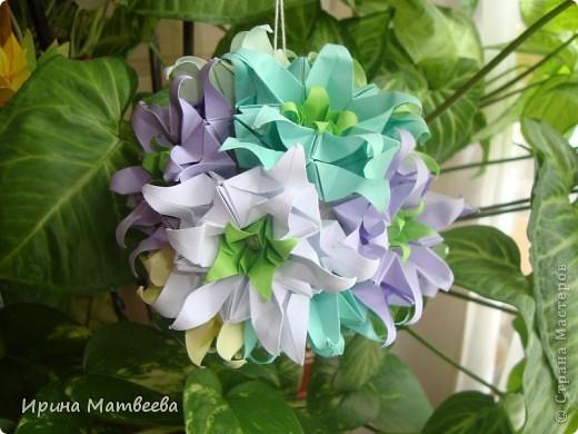 Собрались у меня два цветика- семицветика. Один -  кусудама Romantic Татьяны Высочиной          ( http://pics.livejournal.com/tigreshenka/gallery/0001615k), второй - Пассифлора Екатерины Лукашевой ( http://kusudama.me/#/Passiflora/Passiflora-curly/pass6).. В кусудаме   Romantic я прибавила в цветочках серединки - это не вывернутый модуль супершар.  фото 8