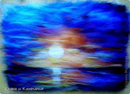 Попробовала нарисовать шерстью море. фото 8