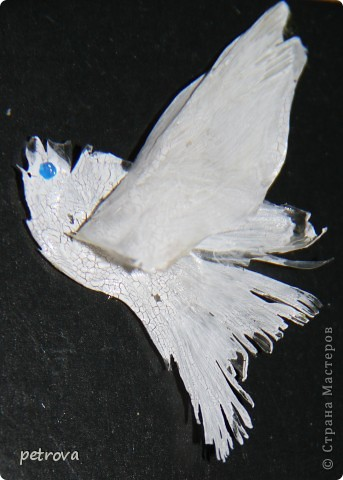 """Люба, Любочка, Любовь... Мне очень хотелось назвать эту работу """"Любовь и голуби"""" и посвятить тебе, Мастерица,  Любочка Дычек.  Подумала, подумала и поняла, что есть над чем поработать, надо еще не одну рыбку скушать...  Да, да - это все сделано из косточек головы лосося и акриловой краски.  фото 2"""
