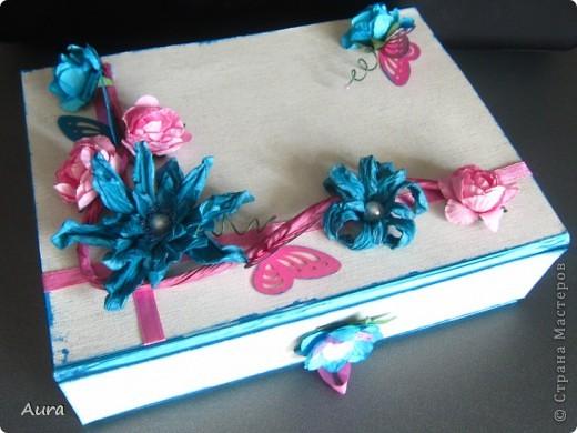 """Доброго вам дня! У меня накопилось много коробочек, которые надо довести до ума, то бишь """" навести красоту"""" :))) Вот очередная работа: давно хотела попробовать это """"дикое"""" сочетание цветов; коробка на магните, сделала петельку для удобства.  Бумага для фона по текстуре похожа на небеленый лён, очень приятная на ощупь  фото 1"""