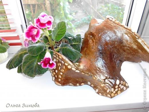 """Вот и ещё одна старая коряга пригодилась... Сделала на подарок вот такую композицию. В закромах давно пылилась коряга, напоминавшая птицу.  После окончательной обработки я декорировала её морскими камушками. Корзиночку с цветами подобрала и сделала  по размеру отверстия в коряге. Корзиночка съемная. Саму""""птицу"""" можно ещё использовать и как кашпо под цветы. Что получилось смотрите сами. Подарок вроде понравился.. фото 12"""