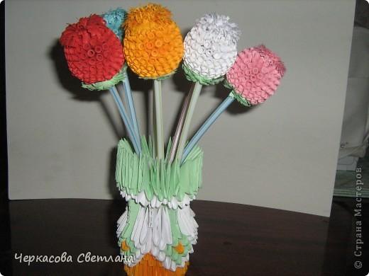 цветочки в технике квиллинг и ваза -модульное оригами, по мастер -классу страны мастеров фото 1