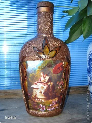Очень понравилась охотничья бутылка Львовны и вот решила сделать что-то эдакое и для себя.Картинка от коробки чая,вокруг картинки - витражная краска. фото 1