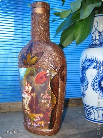 Очень понравилась охотничья бутылка Львовны и вот решила сделать что-то эдакое и для себя.Картинка от коробки чая,вокруг картинки - витражная краска. фото 4