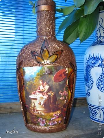 Очень понравилась охотничья бутылка Львовны и вот решила сделать что-то эдакое и для себя.Картинка от коробки чая,вокруг картинки - витражная краска. фото 5