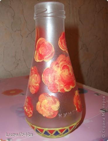 Решила попробовать себя в дизайне стеклянной тары))). Подарила сотруднице с работы. фото 1