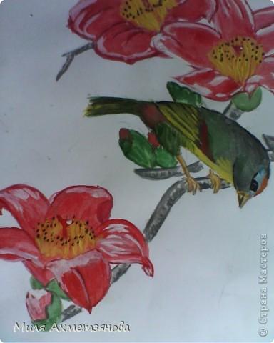 Птица на ветке: гуашь, акварель фото 1