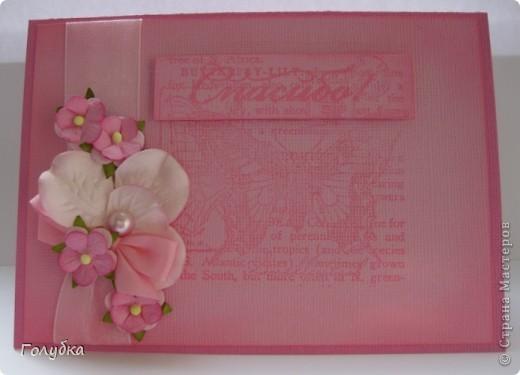 """Card Making... Увлекло меня тон в тон:)))) Здесь я использовала теплый розовый цвет основы, в таком же цвете штамп, а подложка средний розовый... Если ориентироваться на таблицу оттенков:) Полетело это """"Спасибо"""" ОЧЕНЬ интересному человеку:) фото 1"""