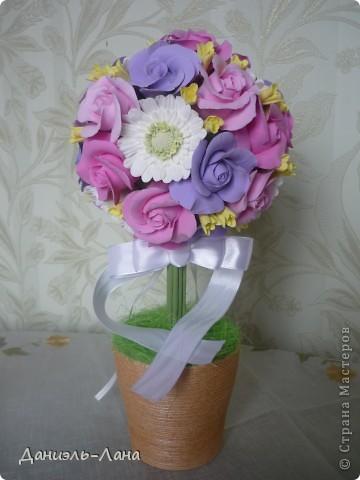 Топиарий(розы.герберы) фото 2