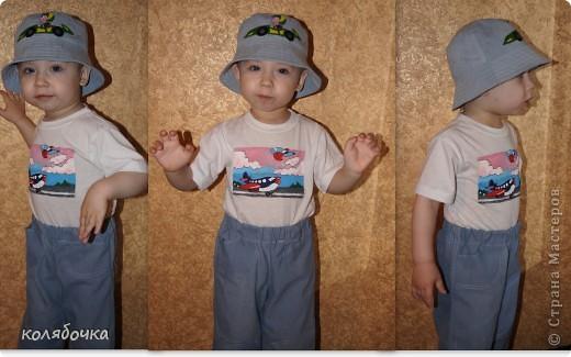 Эта джинсовая панамка для Макса,вместе с джинсами голубыми получился комплект.Гонщика рисовала красками по ткани фото 3
