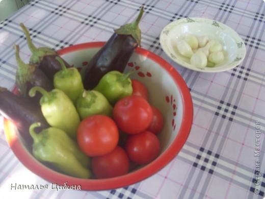 Всем приветик! Хочу поделиться с вами рецептом овощной и очень вкусной икры и своим рецептом малосольных огурчиков! Для икры нам понадобится 4 баклажана, 4-5 болгарского перца, 4-5 помидоров, 3-4 головки лука и 1 головка чеснока, растительное масло и соль. фото 2